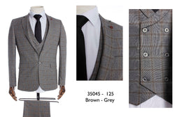 European 3 pieces mixed brown-grey suit