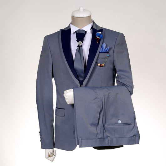 High quality Grey and Blue Slim Fit Tuxedo