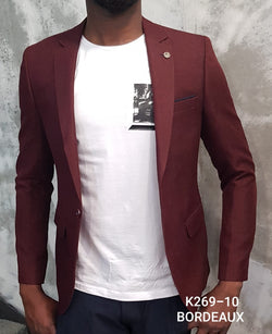 Nice Burgundy Summer Slim Fit Blazer