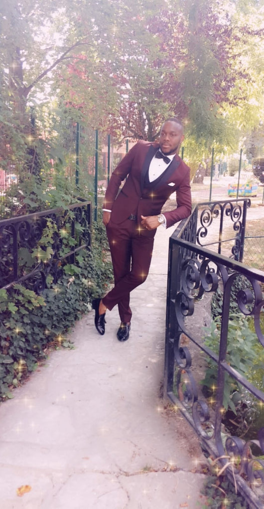 High Quality Burgundy and Black Slim Fit Tuxedo