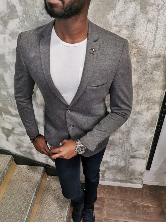Mr Ken Grey Slim Fit European Blazer