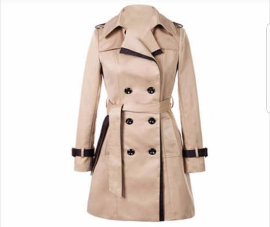Nice Women Trench Coat Khaki Long Sleeve Sash Double Breasted Rain Coat