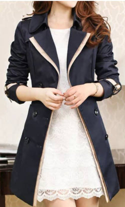 Nice Women's Trench Coat Black and Khaki Long Sleeve Sash Double Breasted Rain Coat