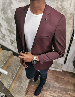 Mr Drey Nice Burgundy slim fit blazer