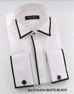 Unique Italian Design Black and White Slin Fit Shirt