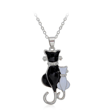 Two cats over my heart Necklace