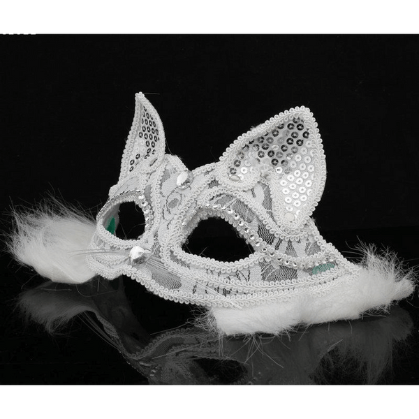 Party Cat Face Mask- White Lace