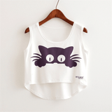 Summer Sleeveless Cat Crop Top