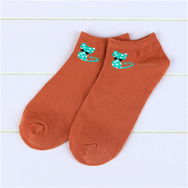 Summer Ankle Cut Socks-Brick Red