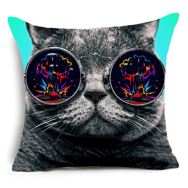 My Cat Glasses Cushion Cover- Colorful