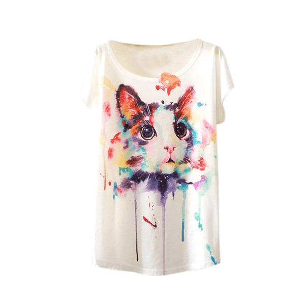 United Colors of Cat T-Shirt (Free Size)