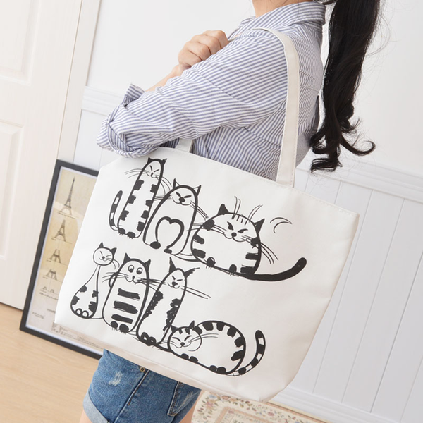 Seven Cats Tote Canvas Bag