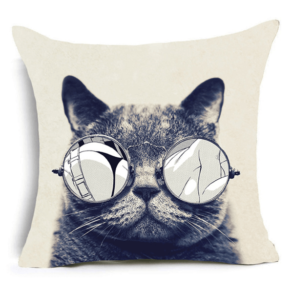 My Cat Glasses Cushion Cover-B&W