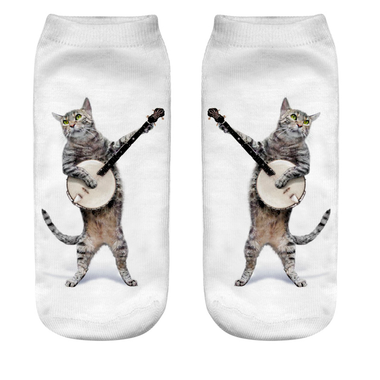 The Rock Star Cat Socks-White