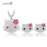 Hello Kitty Crystal Necklace and Earring Set-Blue/Rose/Purple