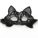 Party Cat Face Mask- Black Lace