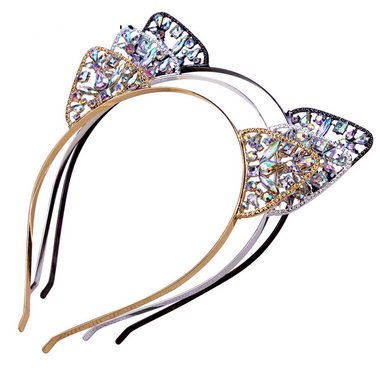 Rhinestone Cat Ears Headbands-Silver/Black/Gold