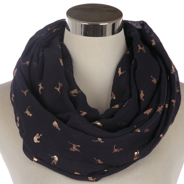 My Shiny Cat Scarf-Gray/ Blue
