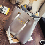 Kitty Cat Ladies Handbag – Gray-Accessories-MissMeowni