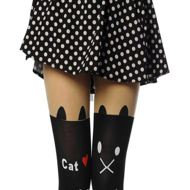 Kitty Heart Catstockings Pantyhose-Apparels-MissMeowni