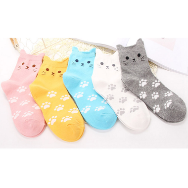 Little cat ears and footprints short Socks-Apparels-MissMeowni