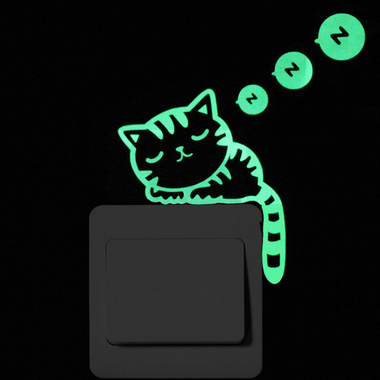 Luminous Cats Sitting Sticker-Home Decor-MissMeowni