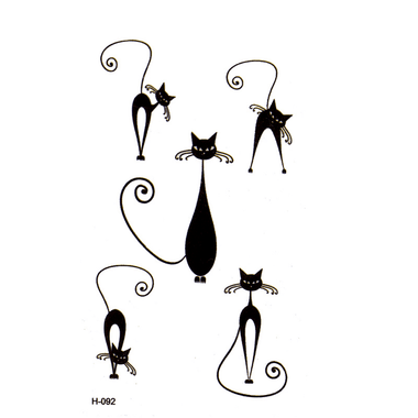 MissMeowni Accessories Black / OneSize Big Black Cat With Small Eyes Tattoos