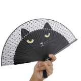 MissMeowni Accessories Black / OneSize Japanese Silk Cat Hand Fan