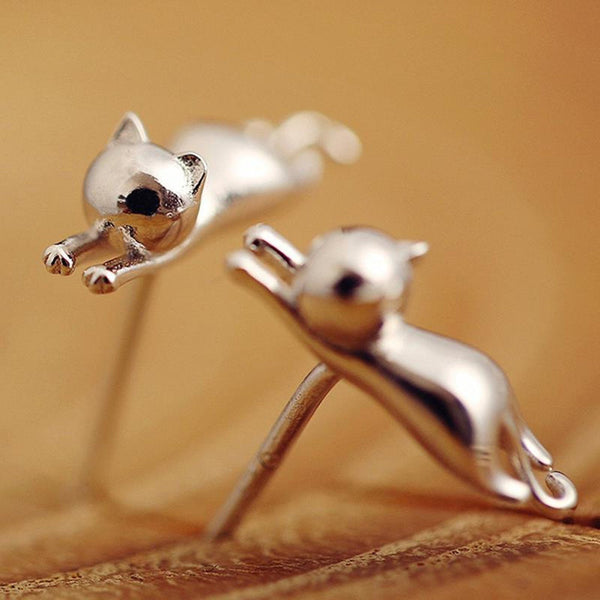 Hanging Cat Necklace And Earring Silver Shining Missmeowni