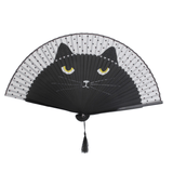 MissMeowni Accessories Japanese Silk Cat Hand Fan