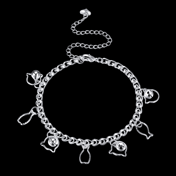 MissMeowni Accessories OneSize / Silver Cat loves Fish Anklets - Silver