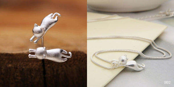 MissMeowni Accessories OneSize / Silver Hanging Cat Necklace and Earring - Silver Matte