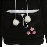 MissMeowni Apparels Cat Cuddle Pouch Hoodies-Black