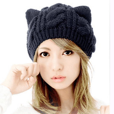 MissMeowni Apparels Cat Ear Knitted Hat-Black/Khaki