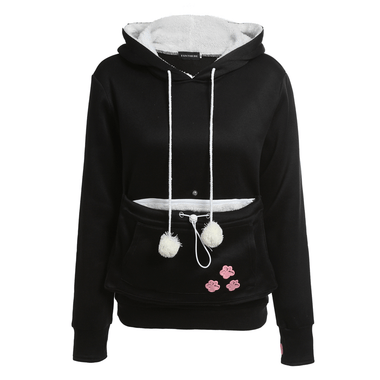 MissMeowni Apparels Large / Black Cat Cuddle Pouch Hoodies-Black