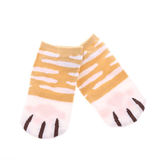 MissMeowni Apparels OneSize / Shades of Orange/White Cat Claws and Stripes Low Cut Ankle Socks
