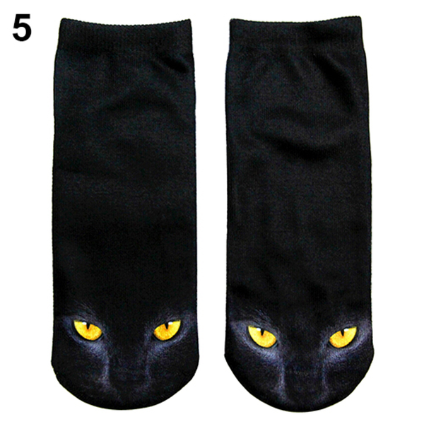 MissMeowni Apparels OneSize / White Black Cat in Yellow eyes Socks