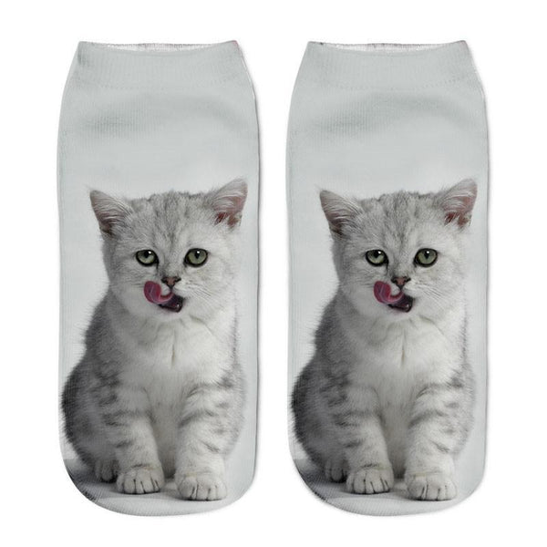 MissMeowni Apparels OneSize / White Cute Cat Lick Ankle Socks - White