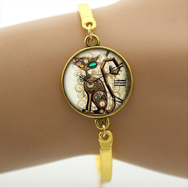 MissMeowni Bracelets Silver / OneSize Cat in the Clock Bracelet