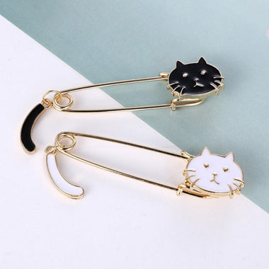 MissMeowni Brooch Kitten Wagging Tail Kitten Black And White Cat Tail Brooch