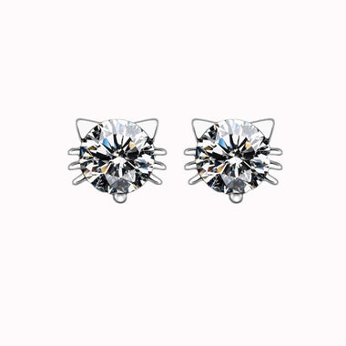 MissMeowni Earring OneSize / White Silver Diamond Cat Earrings - White Silver