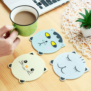 MissMeowni Home Decor Coasters Cat Faces-4 variants