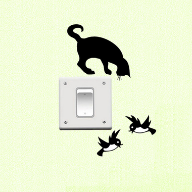 MissMeowni Home Decor OneSize / Black Cats Birds Living Together Sticker