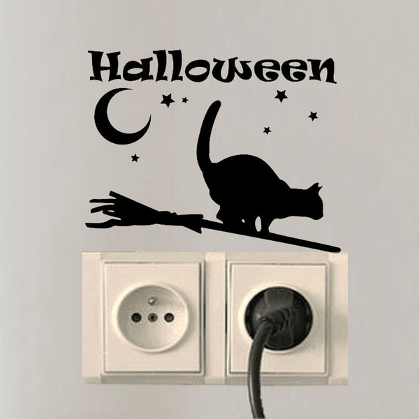 MissMeowni Home Decor OneSize / Black Halloween My Cat on Broom Sticker