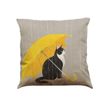MissMeowni Home Decor OneSize / Gray/Yellow Cat in Rain Cushion Cover