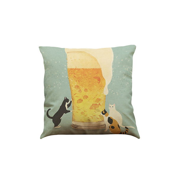 MissMeowni Home Decor OneSize / Green/Yellow Cat with Beer Glass Cushion Cover