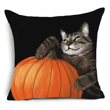 MissMeowni Home Decor OneSize / White Halloween Pumpkin Cat Cushion Cover