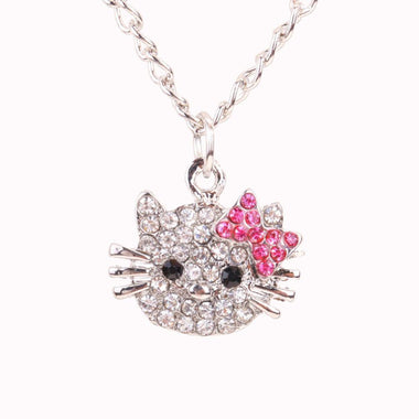 MissMeowni Necklace OneSize / Silver Hello Kitty Crystal Necklace