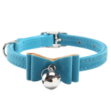 "MissMeowni Only for Cats 3/8 "" x 11"" (1CM x 30CM) / Blue Cat Collar with Bell"