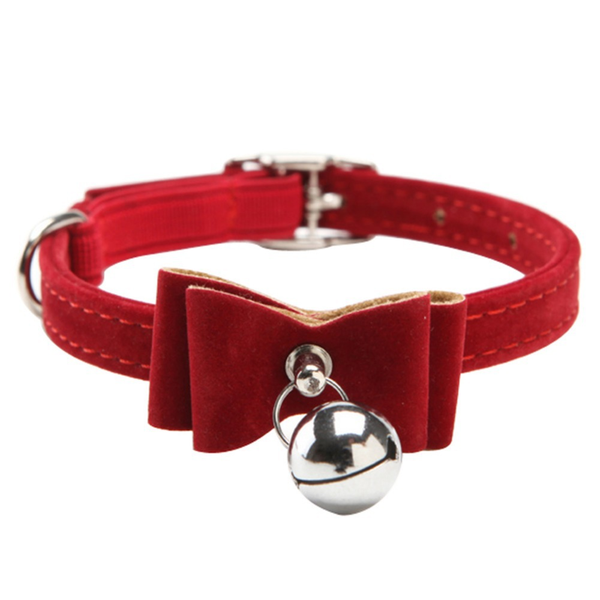 "MissMeowni Only for Cats 3/8 "" x 11"" (1CM x 30CM) / Red Cat Collar with Bell"
